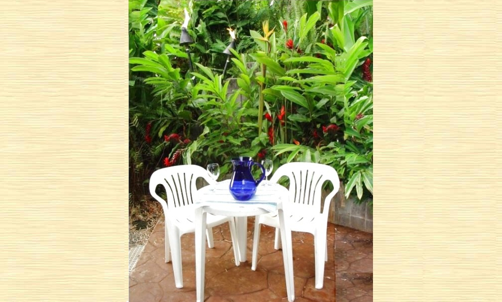 Maui cottage garden patio with BBQ