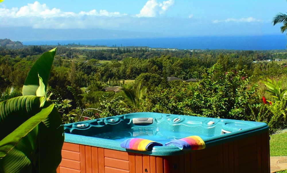 Private Jacuzzi with ocean view at Maui vacation rental